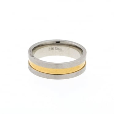 Mens Stainless Steel 2 Tone Band Ring Size T