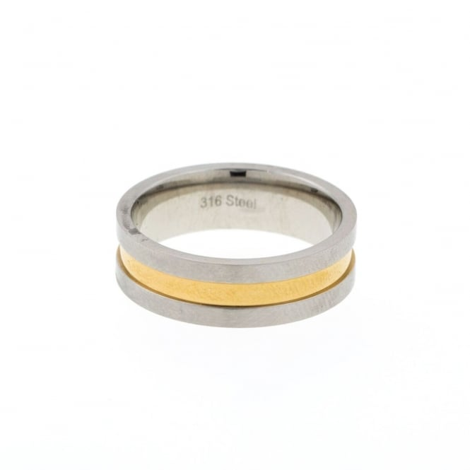 Eternity Mens Stainless Steel 2 Tone Band Ring Size X