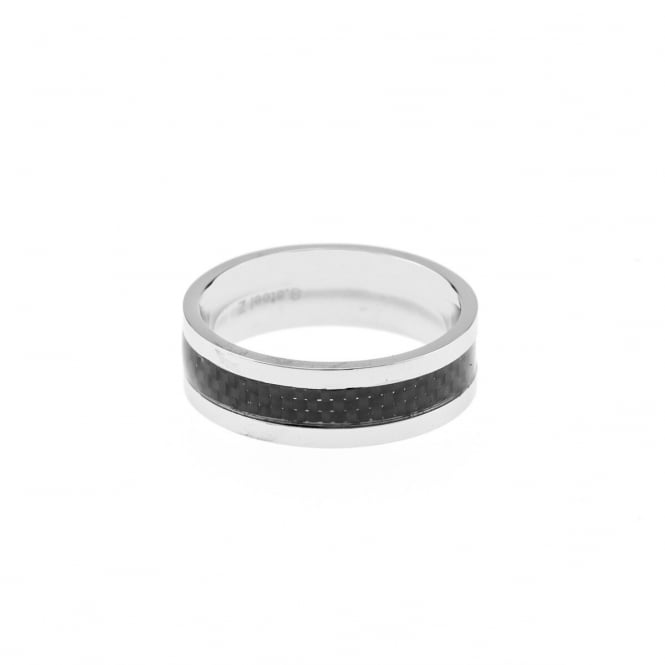 Eternity Mens Stainless Steel and Black Resin Band Ring Size V