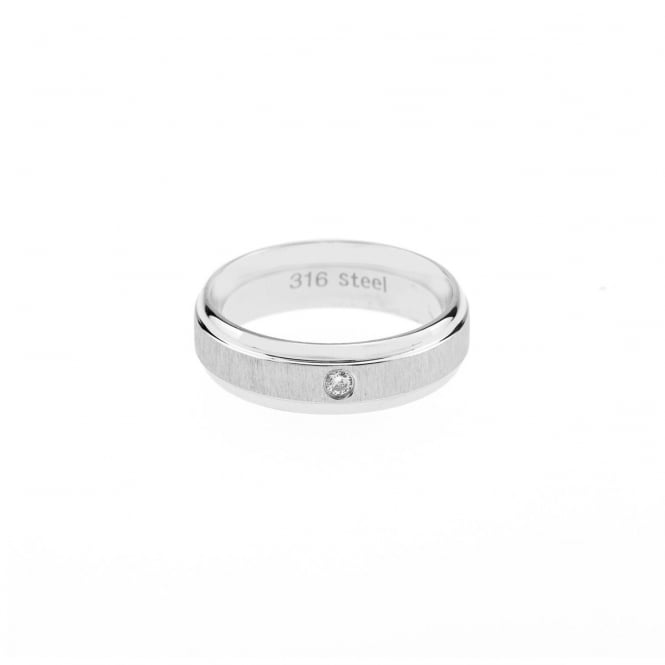Eternity Mens Stainless Steel Cubic Zirconia Band Ring Size X