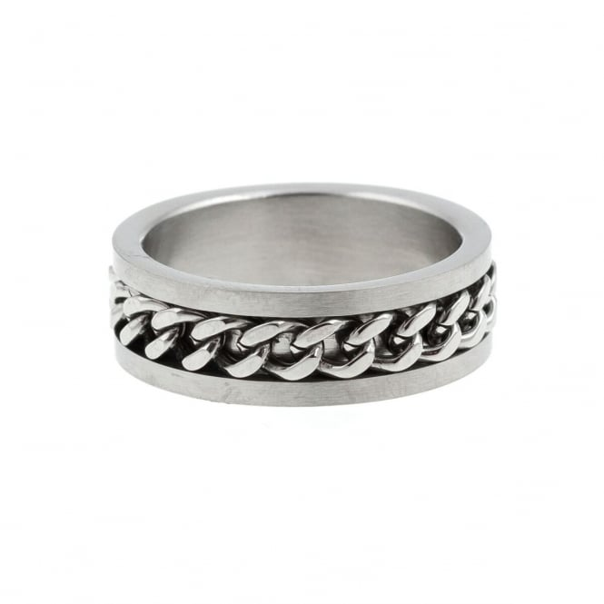Eternity Mens Stainless Steel Curb Centre Band Ring Size T