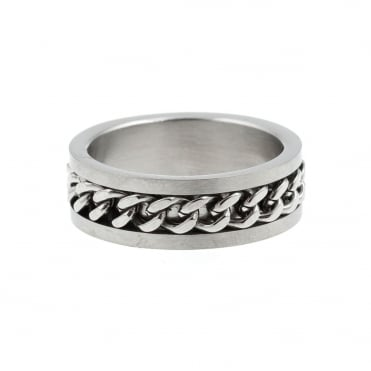 Mens Stainless Steel Curb Centre Band Ring Size T