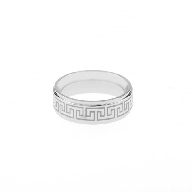 Eternity Mens Stainless Steel Greek Pattern Band Ring Size V