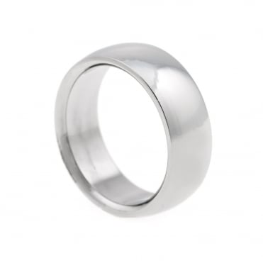 Mens Stainless Steel Plain Band Ring Size R