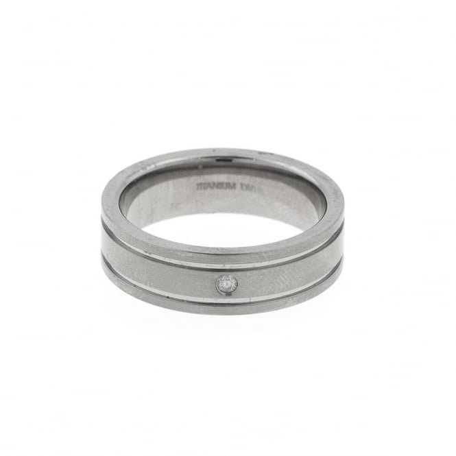 Eternity Mens Titanium Diamond Set Band Ring Size W