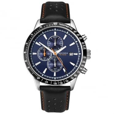 Sekonda Men's Chronograph Blue Dial Black Leather Strap Watch