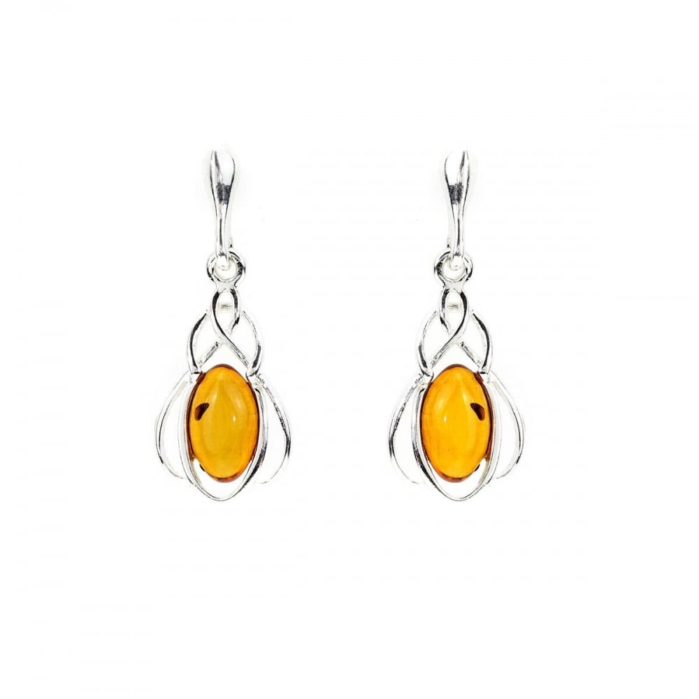 3ff4ef7af Eternity Sterling Silver Amber Drop Earrings - Jewellery from ...