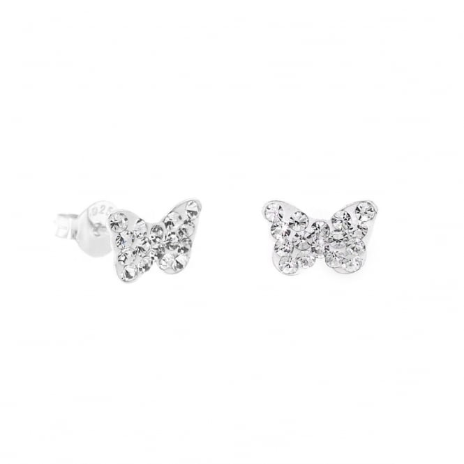 Eternity Sterling Silver Butterfly Stud Earrings