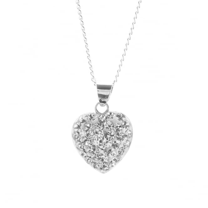 Eternity Sterling Silver Crystal Set Heart Pendant and Chain