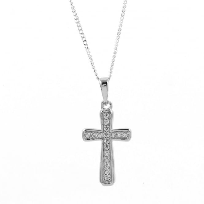 Eternity Sterling Silver Cubic Zirconia Cross Pendant and Chain