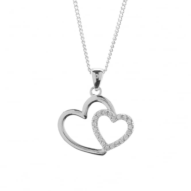 Eternity Sterling Silver Cubic Zirconia Double Heart Pendant and Chain