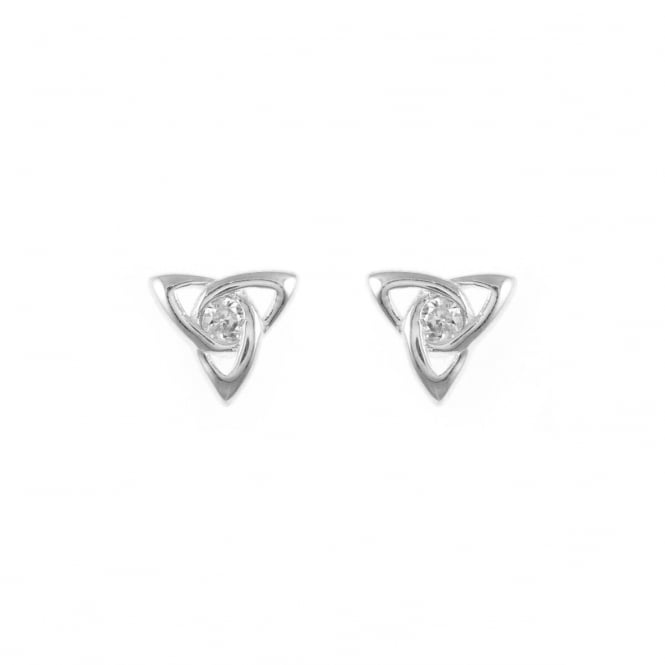 Eternity Sterling Silver Cubic Zirconia Set Celtic Stud Earrings