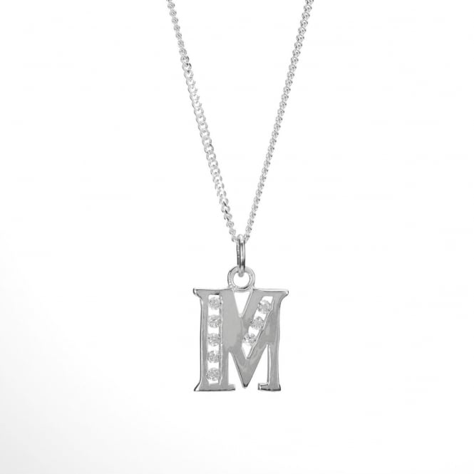 Eternity Sterling Silver Cubic Zirconia Set Initial M and Chain