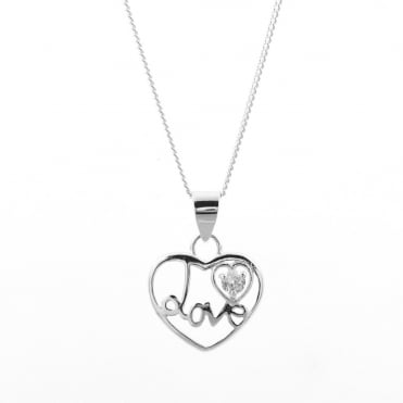 Sterling Silver Cubic Zirconia Set 'Love' Heart Pendant and Chain