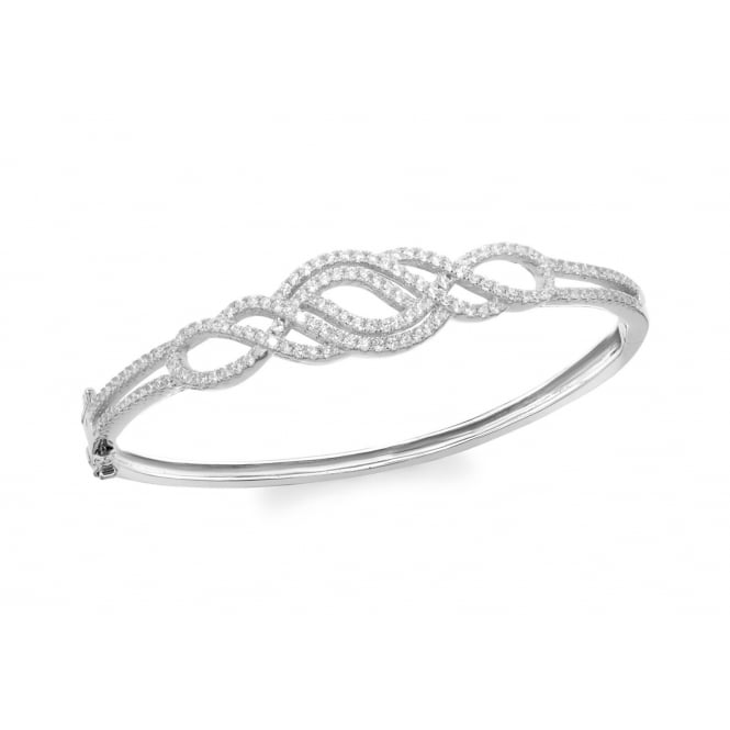 Eternity Sterling Silver Cubic Zirconia Swirl Pattern Bangle