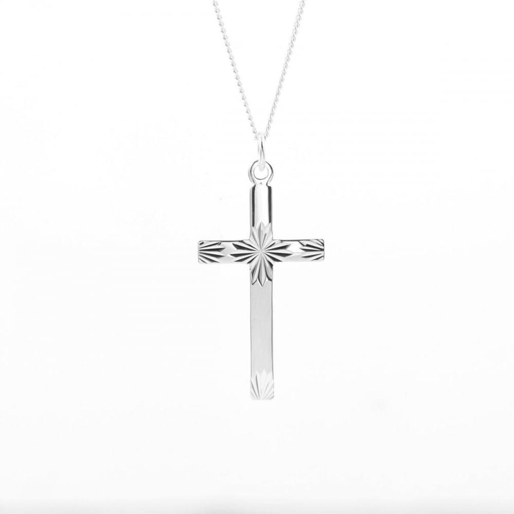 Eternity sterling silver diamond cut cross pendant and chain sterling silver diamond cut cross pendant and chain aloadofball Gallery
