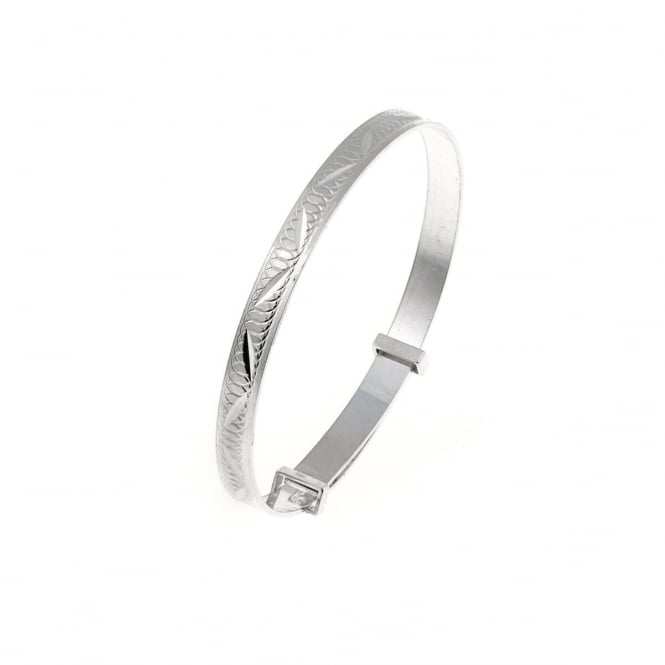 Eternity Sterling Silver Diamond Cut Expanding Baby Bangle