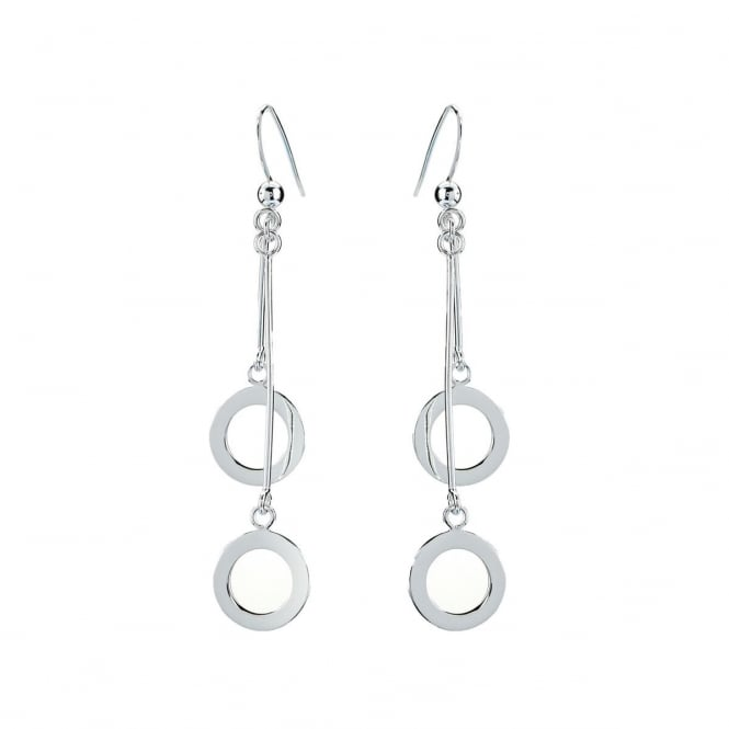 Eternity Sterling Silver Double Circle Drop Earrings