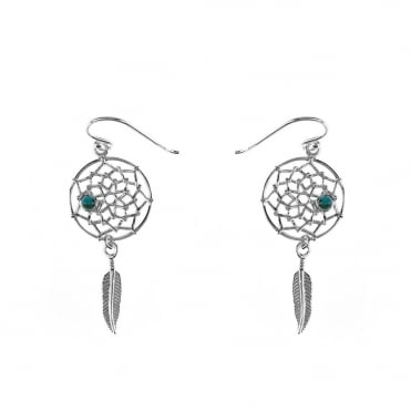 Sterling Silver Dreamcatcher Drop Earrings