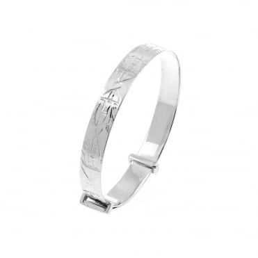 Sterling Silver Engraved Expanding Baby Bangle