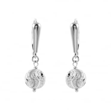 Sterling Silver Fancy Diamond Cut Ball Drop Earrings