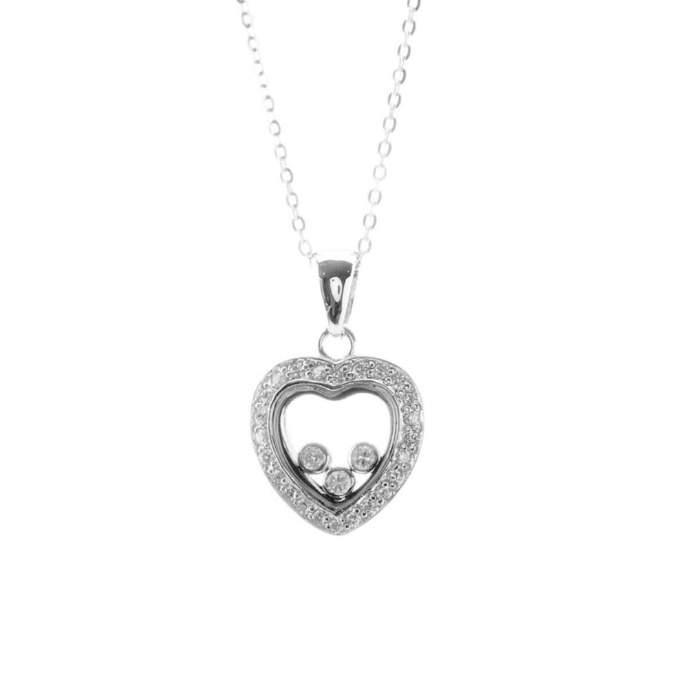 Eternity sterling silver floating cubic zirconia heart pendant and sterling silver floating cubic zirconia heart pendant and chain aloadofball Gallery