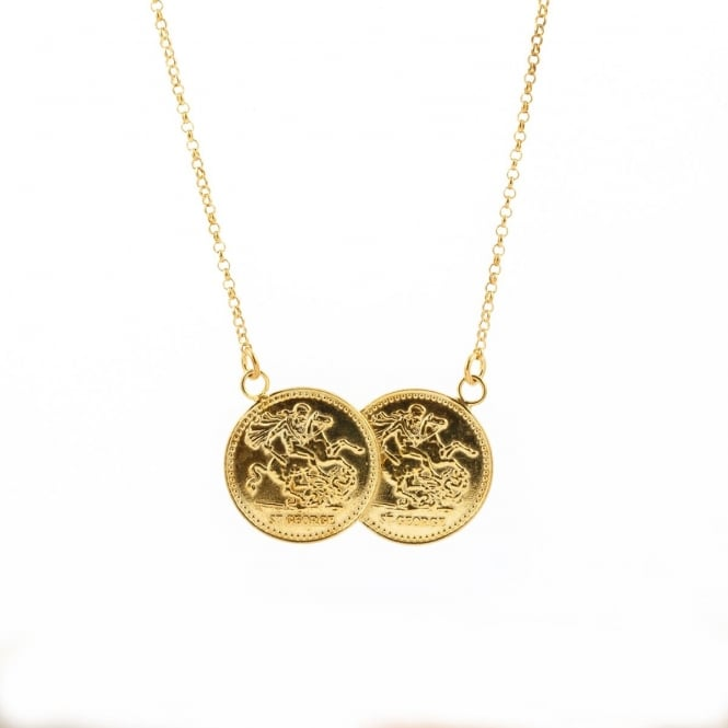 Eternity Sterling Silver Gold Plated 1/2 Sovereign Double Coin Pendant and 16
