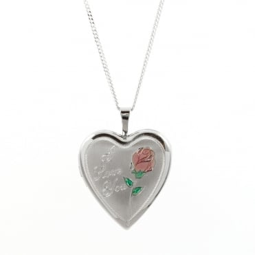Sterling Silver Heart 'I Love You' Pattern Locket and Chain