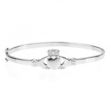 Sterling Silver Ladies Claddagh Bangle