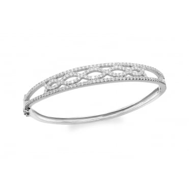 Sterling Silver Ladies Cubic Zirconia Set Plaited Bangle