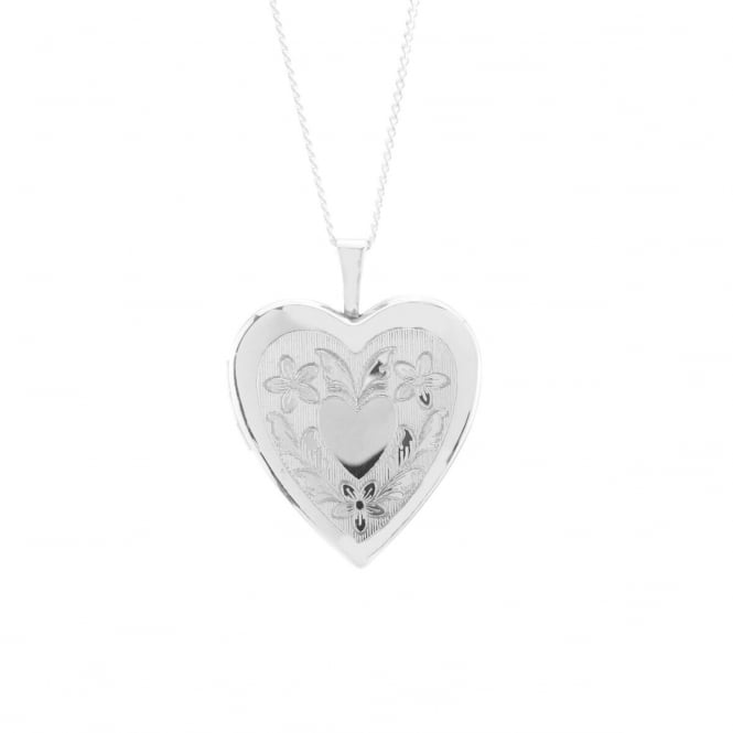 Eternity Sterling Silver Large Heart Engraved Locket and Chain