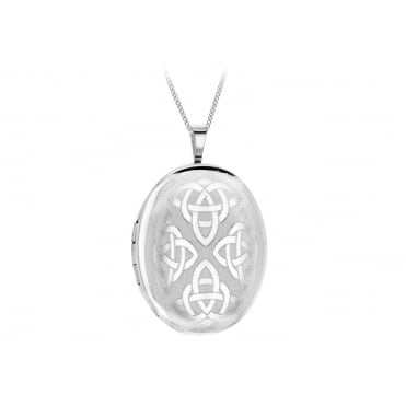 Sterling Silver Large Oval Celtic Pattern Locket and Chain