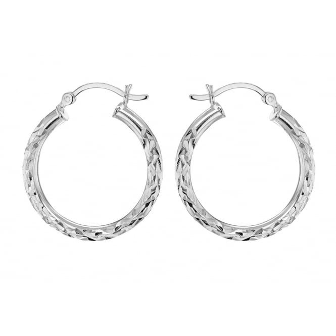 Eternity Sterling Silver Medium D/C Hoop Earrings