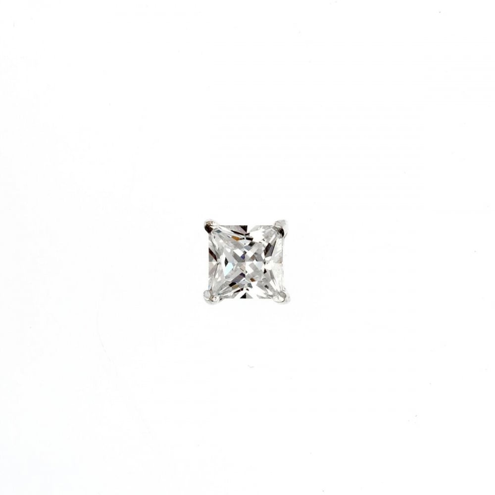 Eternity Sterling Silver Mens Square Cubic Zirconia Stud Earring