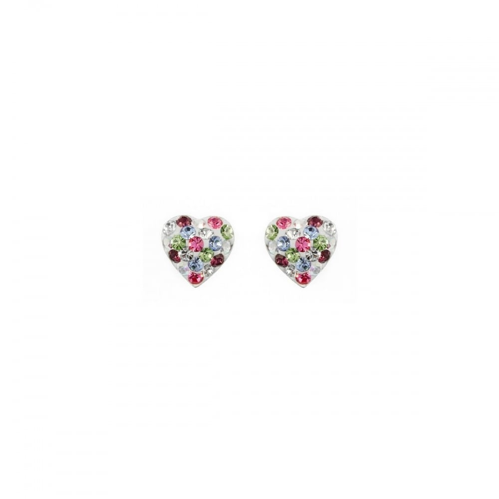fe09af36c Eternity Sterling Silver Multi-Colour Crystal Heart Stud Earrings ...