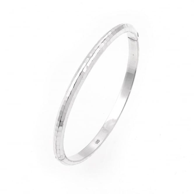Eternity Sterling Silver Oval Hammered Hinged Bangle