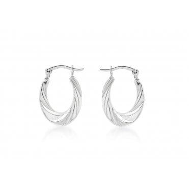 556cfa8fe Sterling Silver Oval Twisted Creole Earrings