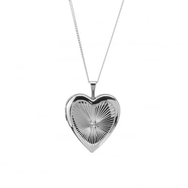 Sterling Silver Rhodium Plated Heart Diamond Cut Locket and 18