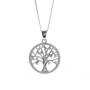 Sterling Silver Rhodium Plated Round Cubic Zirconia Tree of Life Pendant and Chain