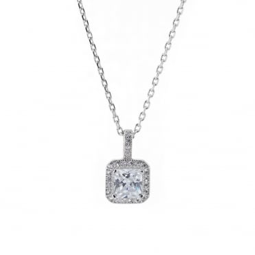Sterling Silver Square Halo Set Cubic Zirconia Pendant and Chain