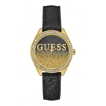 GUESS Ladies Black and Gold Watch with a Glitter Logo Dial and Crystal Detailing.