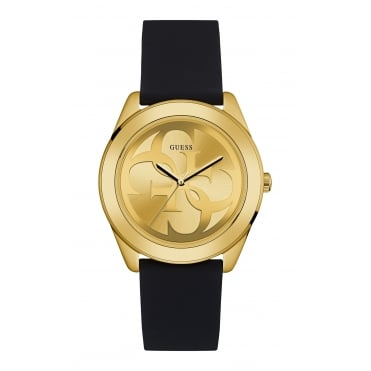 GUESS Ladies Gold Watch with Gold Logo Dial and Black Silicone Strap
