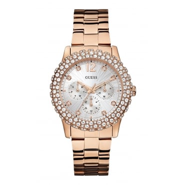 GUESS Ladies Rose Gold Bracelet Watch with Crystal Details