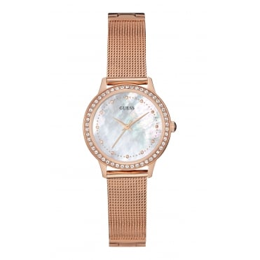 GUESS Ladies Rose Gold Mesh Bracelet Watch