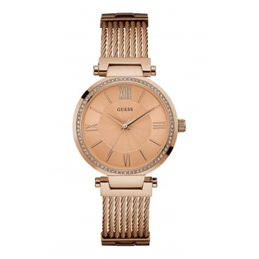 GUESS Ladies Rose Gold Watch with Crystal Detailing and Rose Gold Wire Bracelet.
