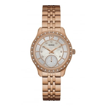 GUESS Ladies Rose Gold Watch with Mother of Pearl Dial and Rose Gold Bracelet.