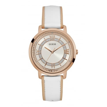 GUESS Ladies Rose Gold Watch with White Dial and White Leather Strap