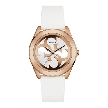 GUESS Ladies Rose Gold Watch with White Logo Dial and White Silicone Strap