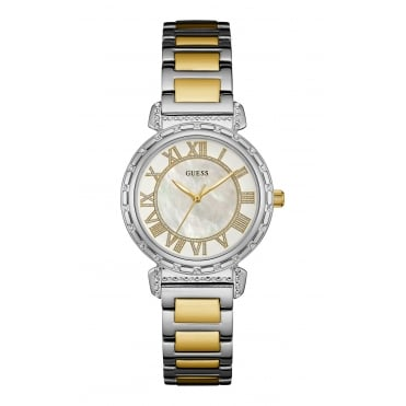 GUESS Ladies Silver and Gold Watch with Mother of Pearl Dial and Silver and Gold Two Tone Bracelet.