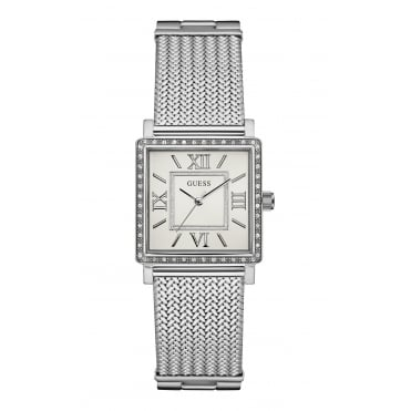 GUESS Ladies Silver Watch with Crystal Detailing and Silver Mesh Bracelet